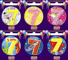 Expression Factory I AM 7 TODAY Happy 7th Birthday Badge Girl Boy Pink Blue 55mm