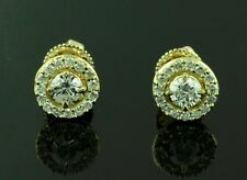 14k Solid Yellow gold Natural Diamond Earring Halo Stud 0.59 ct