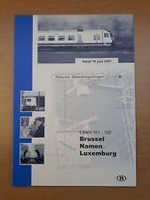 NMBS (SNCB) - lijnen 161-162 - nieuwe dienstregeling 10 juni 2001 (folder)