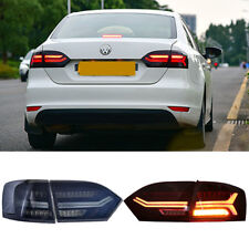 LED Audi Look Tail Lights For VW Jetta 2011-2014 Smoked Tinted Rear Lamps