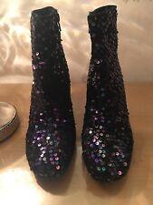Ladies Sequinned black/bluey-purple Ankle Boots Size 6UK 39 EUR