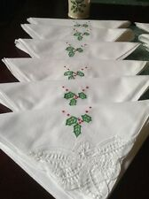 "12 Cloth Napkins Christmas  100% Cotton White 18""X18"""