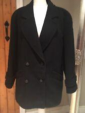 Windsmoor Black Wool Blend Winter Double Breasted Jacket Coat 10-12