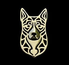 Australian Cattle Dog (H) Brooch or Pin-Fashion Jewellery Gold Plated, Stud Back
