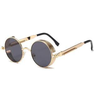 Unisex Retro Round Classic Gothic Steampunk Sunglasses for Men Women