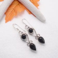 Onyx schwarz rund tropfen Design Ohrringe Ohrhänger 925 Sterling Silber neu