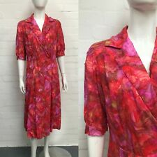 Vintage Pink Shirtwaister Dress 14 50's Floral Shirt Waist Original/True