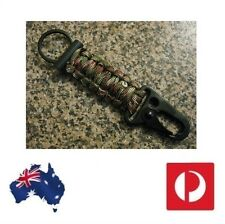 Flint Fire Starter Keyring Camo Paracord HK Hook Chain Survival Outdoor Mg