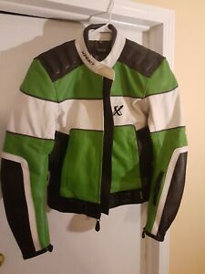 xpert Leather Motorcycle Jacket size 40 green and white