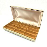 Mele Travel Earring Jewelry Box Vintage Designer Textured Hinged Hard Case Cream