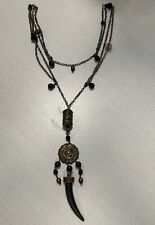 Fashion Long Purple Black Beads W/ Horn Pendant Bronze Necklace Sugar Calabasas