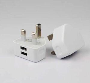 OnePlus+ Dual USB Charger UK Mains Wall Plug Travel Adaptr 2.1AMP