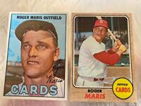 Topps Roger Maris Two Card Lot 1967 and 1968