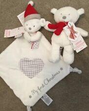 Mothercare My First Christmas Blankie / Comforter & Jingle Bear Hug Toy ** Bnwt
