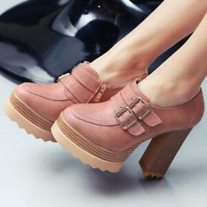 Womens Chunky Heel Platform Ankle Boots Round Toe Buckles Zip High  Casual Shoes