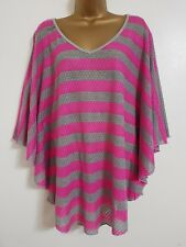 NEW Plus Size 16-24 Lace Batwing Pink Grey Striped Top Blouse Tunic