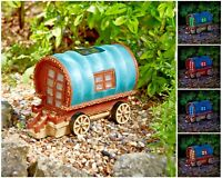 Solar Powered Colour Changing Light Gypsy Rose Caravan Outdoor Garden Ornament