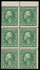 1912 1c GREEN BOOKLET PANE OF SIX MINT #405a MLH on tab only $65.00