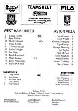 Teamsheet - West Ham United v Aston Villa 1999/2000