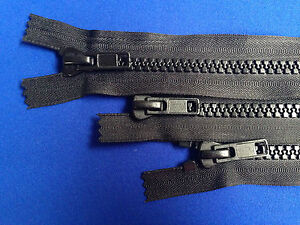 """ZIP CLOSED ENDED 10 WEIGHT 41CM 16"""" METAL SLIDER BLACK CHUNKY HEAVY DUTY"""