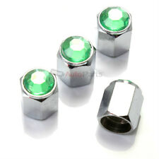 4 Car-Truck Bling Green Diamond Crystal Chrome Tire/Wheel Air Stem Valve Caps