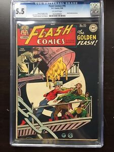 FLASH COMICS #95 CGC FN- 5.5; OW; scarce; Kubert art!