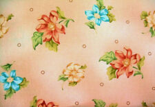 2 Yards of Tan with Pink and Blue Flowers Cotton Quilting Fabric