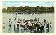 c1920 Postcard; Bathing Beach Island Park, Harrisburg Pa Dauphin County Unposted
