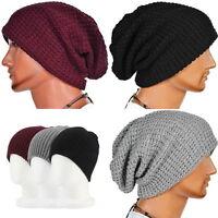 Men Women Winter Slouch Skull Oversize Hat Knit Ski Beanie Crochet Baggy Cap
