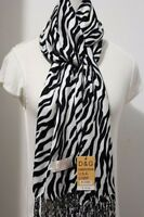 DG Pashmina Scarf Shawl-Animal Print-White Black,Cashmere Silk*Soft*Trendy