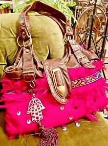 Neon Pink Moroccan Hamsa BOHO slouch bag ethnic sequins embroidered USED!
