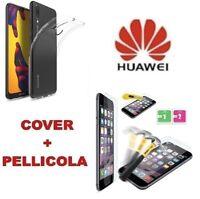 Custodia Cover Slim in Silicone Trasparente per Huawei P20 Lite +Pellicola Vetro