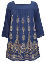 Eaonplus blouse tunic top plus size 18/20 22/24 26/28 30/32 navy gold pattern