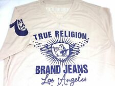 $225 TRUE RELIGION JEANS Mens BROWN BLUE V-NECK MR. NICE GUY T-SHIRT TEE 2XL XXL