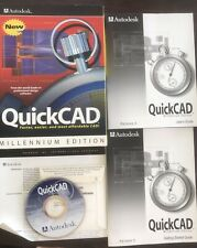 Vintage Autodesk QuickCAD Release 6 Millennium Edition pc CD, guides & Box