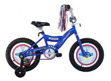 """ENFANTS Vélo Avec Entraînement Roues 16 """" BMX Bleu Avec Noir Pneus"""