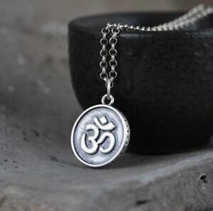925 Sterlling Silber Lotus Prayer Om Mani Padme Hum Anhänger A2154