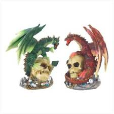 FIRE AND EARTH DRAGON STATUES 1 RED 1 GREEN COLLECTIBLE GIFT