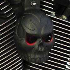 Skull Horn Cover. Evil Twin lighted eyes. Textured black.  Harley. PCETL-1
