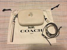 Auth Coach Disney Mickey Crossbody Clutch Glovetanned Leather Dark GunmetalChalk
