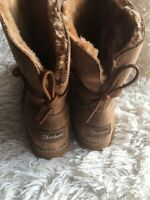 Skechers Tan Faux Fur Lined Mid Calf Boots Size 11 NEW