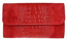 Croc Print Genuine Suede Clutch Bag Italian Leather Evening Womens Handbag Red