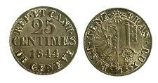pcc1839_70) Swiss Cantons. City of Geneva. 25 Centimes 1844