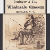 Buffalo NY Grocery Store Aesops Fable Fairbank Meat Fishing Victorian Trade Card