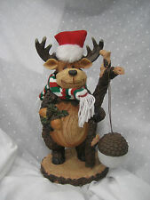 "Plastic Moose Santa with acorn that lights up. looks like carved of wood 12.5""t"