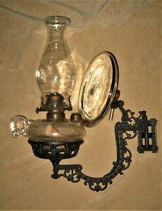 Antique Cast Iron ARM BRACKET w/ FINGER OIL LAMP Font & Mercury? Glass Reflector