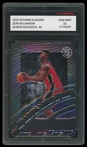 ZION WILLIAMSON 2019-20 PANINI ILLUSIONS HIGHLIGHTS 1ST GRADED 10 ROOKIE CARD RC