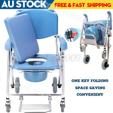 3 in 1 Commode Wheelchair Chair Bedside Footrest Mobile Toilet Shower Chair Seat