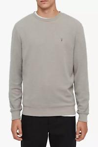 All Saints Mens Theo Cement Grey Crew Neck Designer Sweatshirt Sweater Jumper