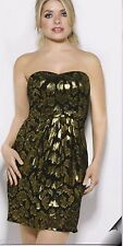 HOLLY WILLOUGHBY black/gold shimmery short dress size 12 BNWT